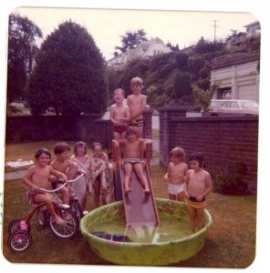 kids around wading pool in the 1970s