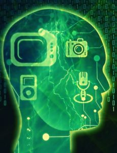 devices superimposed on human brain