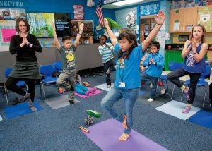 girl leading yoga