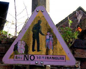 sign warning of stranger danger