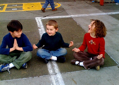 kids in meditation poses