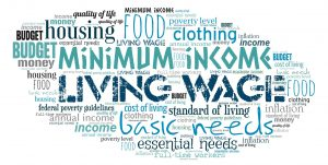 word cloud about a living wage and cost of living